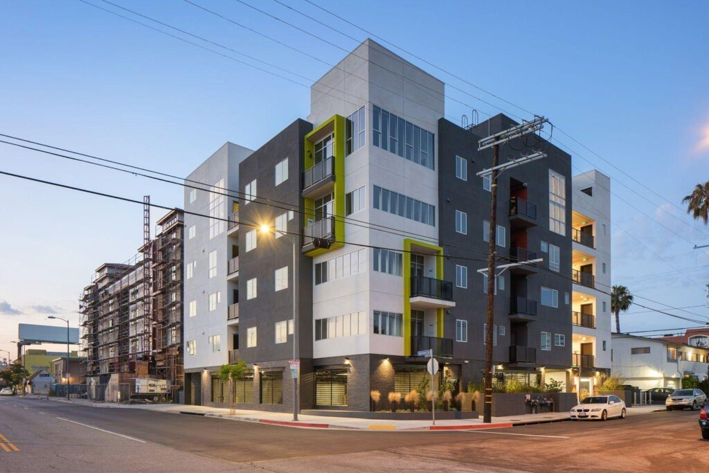Modern residential apartments buildings.